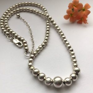925 Sterling silver graduated ball necklace 16-18""